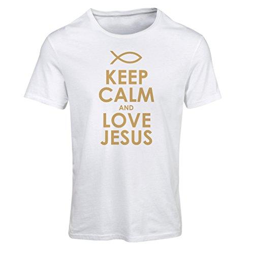 Camiseta Mujer Amo a Jesucristo, Religión Cristiana - Pascua, Resurrección, Natividad, Ideas de Regalo Religioso (X-Large Blanco Oro)