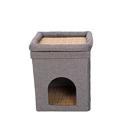 YBYB Cuccia per Gatti Double Layer dell'animale Domestico del Gatto del Cane Caldo Bed Cuscino Pieghevole Materasso Cucciolo Sveglio Mat dell'animale Domestico Chiuso Kennel Gatto Cuccia