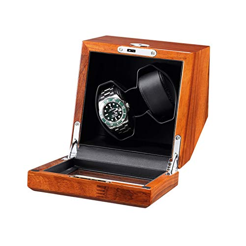 AYYEBO Enrollador Reloj para 2 Relojes Automáticos con Motor Silencioso Ligero Madera Maciza Caja Enrolladora Relojes Adaptador CA Batería Alimentado por USB (Color : Black)