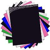 Vinilo de transferencia de calor para tela de camisetas - 10 hojas de colores surtidos - Hierro en HTV Kit de inicio de color vinilo para Cricut y Silhouette Cameo, 30x25cm (PU)