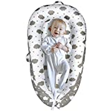 Yoocaa Baby Nest, Baby Nest Pod for Newborn, Portable Breathable Cotton Baby Lounger for Napping and Traveling (0-12 Months), Cloud