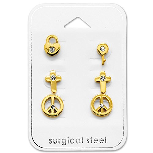 Tata Gisele - Set di 3 paia di orecchini in acciaio 316L dorato e cristallo – Peace Love/Croce/Chiave