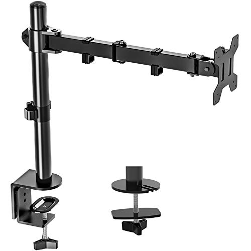 """Single Monitor Stand Mount, Height Adjustable LCD Monitor Desk Mount, Articulating Full Motion Tilt Swivel Monitor Arm - Fits 13"""" to 27"""" Computer Screens, Holds up to 17.6lbs, VESA 75x75/100x100"""