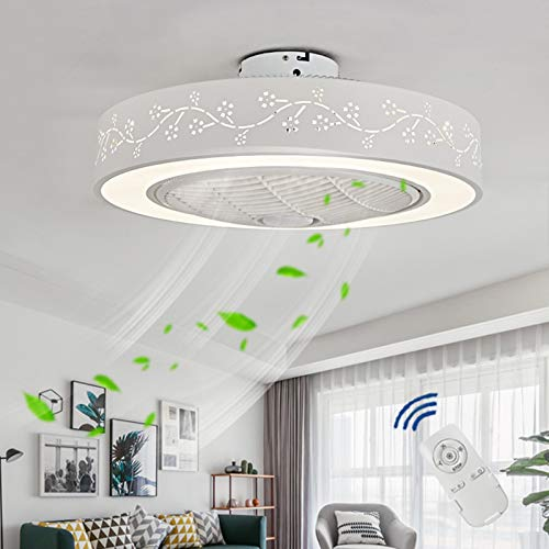 VOAOV Ventilador de Techo con Luz Regulable, Plafón De Techo LED con Control Remoto, 3 Velocidades de Viento Ajustable, Fan Lámpara Silencioso Moderno para Dormitorio, Oficina, Salón, Comedor