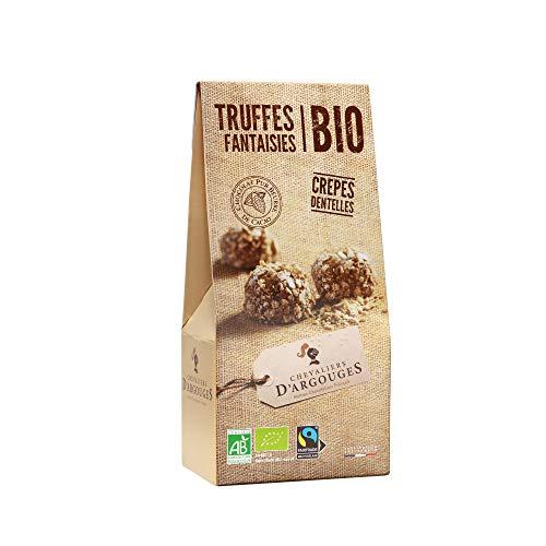 CHEVALIERS D'ARGOUGES Maîtres Chocolatiers Français Truffes Fantaisies Crêpes Dentelles Chocolat Lait 37% de Cacao Bio/Équitable Étui Dégustation 160 g