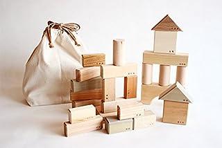 オークヴィレッジ 寄木の積木 ふくろ入り 国産材使用で無塗装、安心安全の木のおもちゃ 積み木 セット 知育 日本製