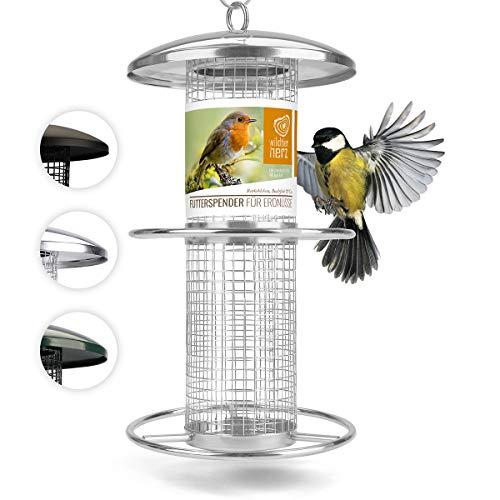corazón animal salvaje | Comederos para aves de comida de grano, 25 cm, con plazas de acero inoxidable, columna de alimentación para pájaros, lleno de maní [plata]