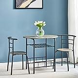 TELLINA 3pcs <span class='highlight'>Dining</span> <span class='highlight'>Table</span> <span class='highlight'>Set</span> (one <span class='highlight'>Table</span> <span class='highlight'>and</span> Two Chairs) Kitchen <span class='highlight'>Dining</span> <span class='highlight'>Table</span> with Two Chairs MDF with Powder Coating Metal (Grey)