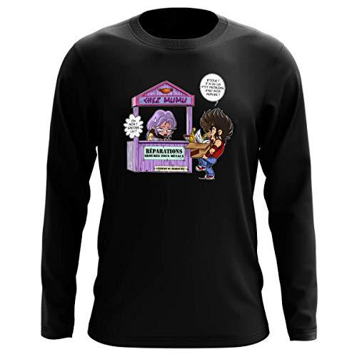 Okiwoki T-Shirt Manches Longues Noir Parodie Saint Seiya - Seiya du Pégase et Mû du bélier - Réparations Tous Métaux ! (T-Shirt de qualité Premium de Taille L - imprimé en France)