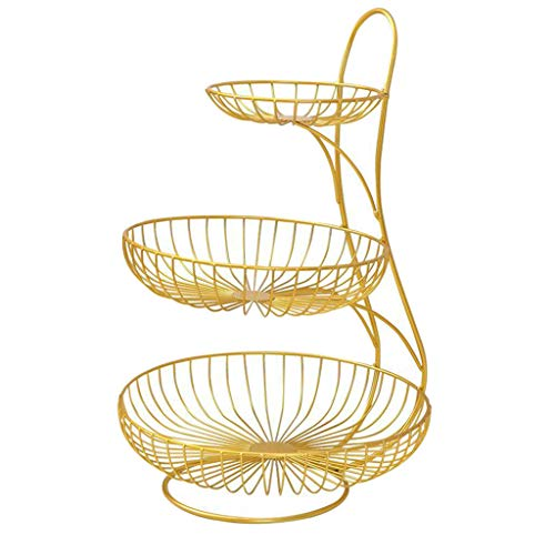 Baoblaze Fruit Bowl Bread Basket Storage Dish Dining Table Home Decor Fruit Basket,Two or Three Tier Fruit Basket Stand for Storing & Organizing Vegetables, Eggs, etc.- Gold 3 Tier, Large