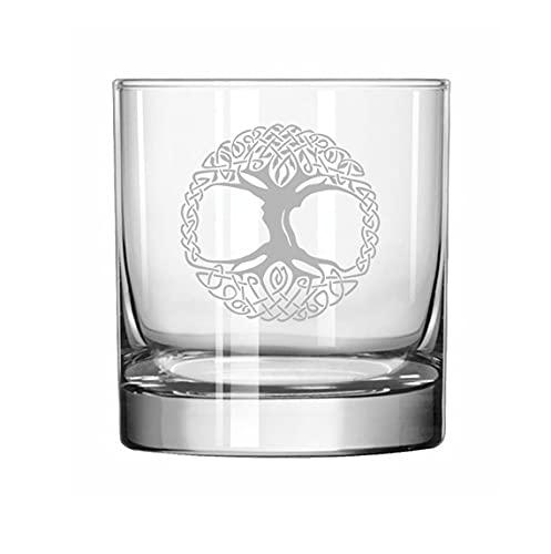 Rocks Whiskey Old Fashioned Glass Celtic Tree Of Life Irish