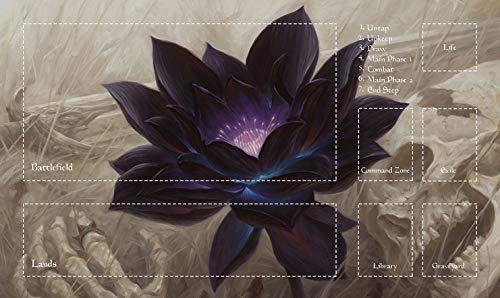 HiddenSupplies.com Lotus with Zones Magic MTG Compatible with Magic The Gathering, Pokemon, Yugioh Playmat TCG Gaming Mat 24 x 14 Inch