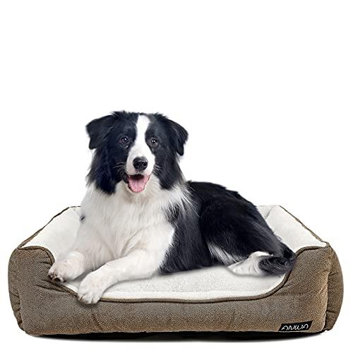 Durable Dog Bed Machine Washable Medium Dog Bed Square, Comfortable Puppy Dog Bed Medium