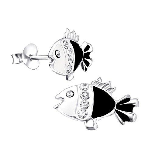 Par de pequeño negro pendientes de peces de plata de ley con piedras de cristal brillantes
