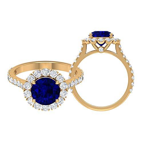 Anillo de halo solitario, anillo cónico con piedras laterales, piedra preciosa de 3,41 quilates, anillo catedral, 14K Oro amarillo, Size:EU 46