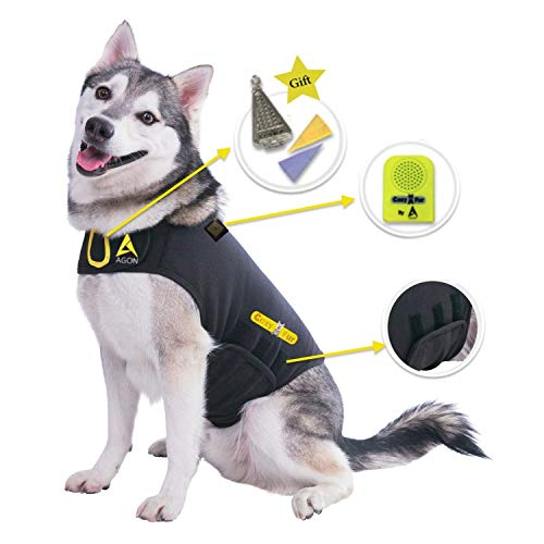 CozyVest 3-in-1 Anxiety Vest Music & Aromatherapy Dog Coat Relaxing Sound & Essential Oil Scent Canine Stress Relief Fireworks Thunder Separation Shirt Jacket Thunderstorm(Black, XS [8-14 Lbs])