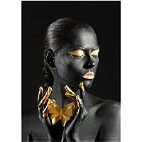 黒と金色の女性の絵の絵の壁の絵のポスターの壁の芸術の居間の装飾-50x75CMフレームレス