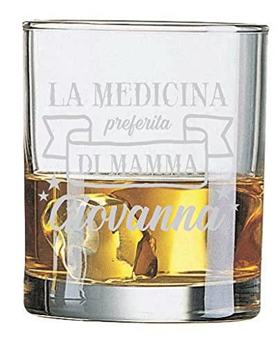 Colorfamily Bicchiere da Whisky Mamma Personalizzabile Festa della Mamma La Medicina Preferita di Mamma - Bicchiere in Vetro 31 cl