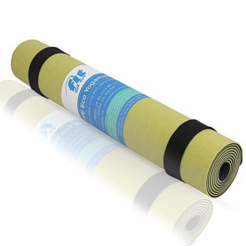 Fit for Fun Yogamatte, rutschfeste Gymnastikmatte, inkl. passendem Tragegriff, ökologische Herstellung ohne PVC & Chloride, 4 mm Dicke, 61 x 183 cm (Beige/Grau)