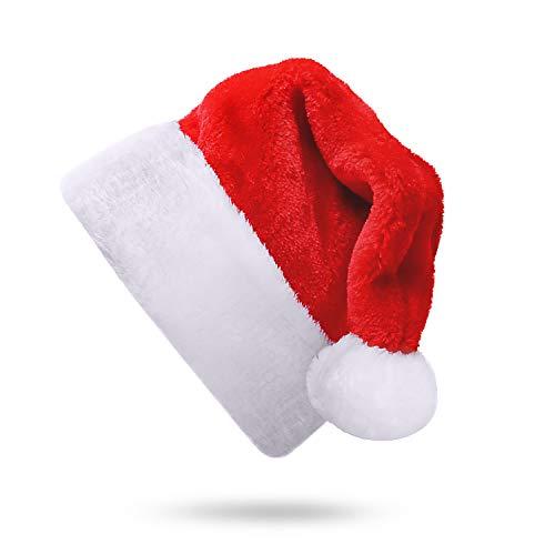 SHareconn 1 Stück Weihnachtsmütze Plüsch Rand Weihnachtsfeier Rot Santa Mütze Nikolaus Dicker Fellrand aus Plüsch kuschelweich & angenehm Für Erwachsene by, Rot