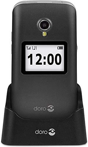 Doro 2424 Teléfono Móvil 2G para Mayores con Tapa con Teclas Grandes, Pantalla Externa, Botón SOS y Base de Carga [Versión Española y Portuguesa] (Gris/Blanco)
