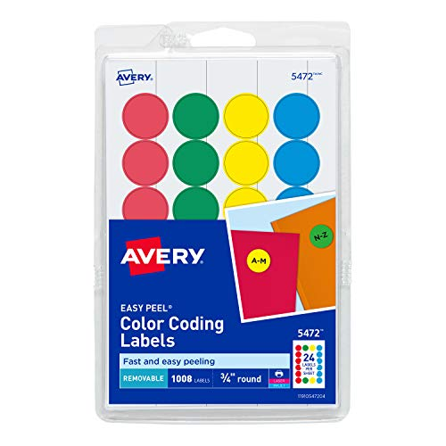Avery 5472 Removable Print or Write Color Coding Labels, Round, 0.75 Inches, Pack of 1008