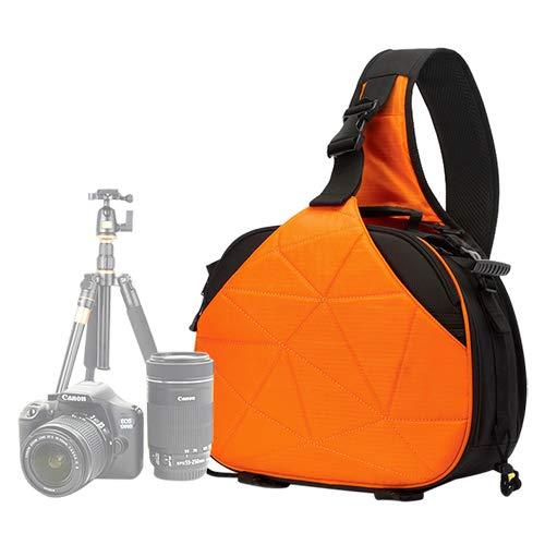 La selección de Cici Triángulo Forma Tscope Sling Hombro Cruz Cámara Digital Bolsas Estuche Bolso Suave con Cubierta de Lluvia para Canon para Nikon para Sony, Tamaño: 33 * 24 * 17 cm (Negro)