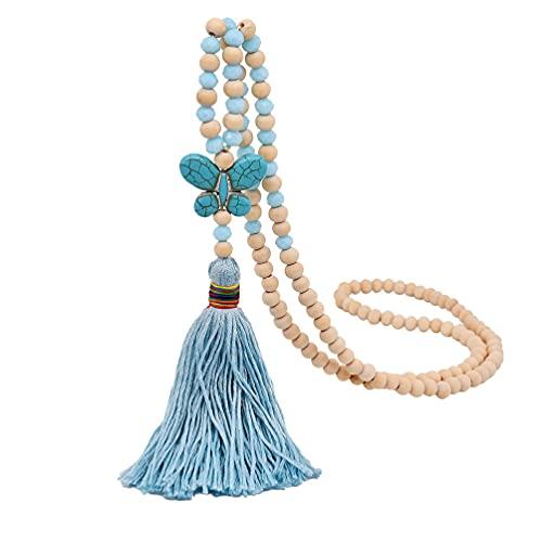 Holibanna Collar con cuentas de borla de mariposa bohemia colgante collar personalizado elegante suéter cadena collar para mujer joyería de moda