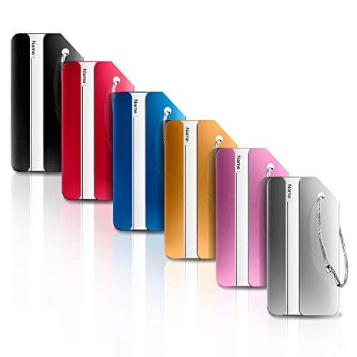 Kofferanhänger 6 Farben,Ivencase Aluminium Gepäckanhänger Metallgepäckanhänger Gepäckgepäcklizenzierung Flugzeug Gepäckanhänger aus Metall