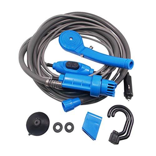 LIOOBO Tragbare Campingdusche, Duschpumpe mit Zwei abnehmbaren USB-Akkus, Handbrause für Camping, Wandern