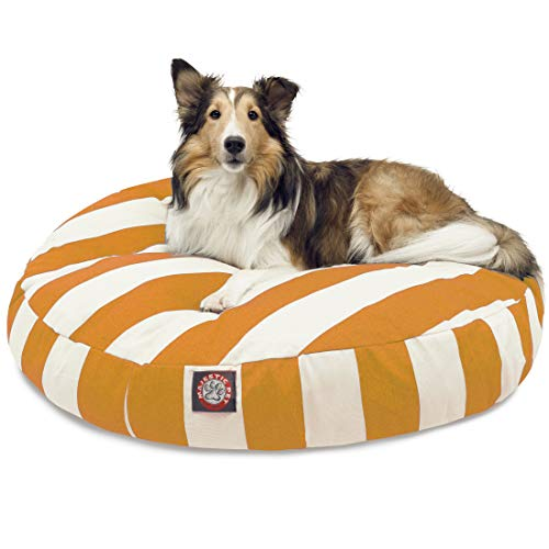 Yellow Vertical Stripe Medium Round Indoor Outdoor Pet Dog Bed With Removable Washable Cover By Majestic Pet Products