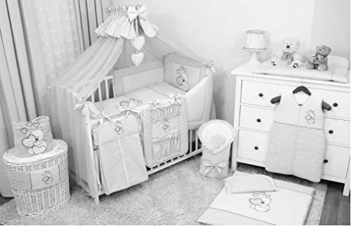 Baby-Bettwaren, Komplettset XXL,18-teilig, Bettwäsche, 100% Baumwolle mit Stickerei + Moskitonetz, mit Teddy/Bär besticktes Motiv für Mädchen oder Jungen.