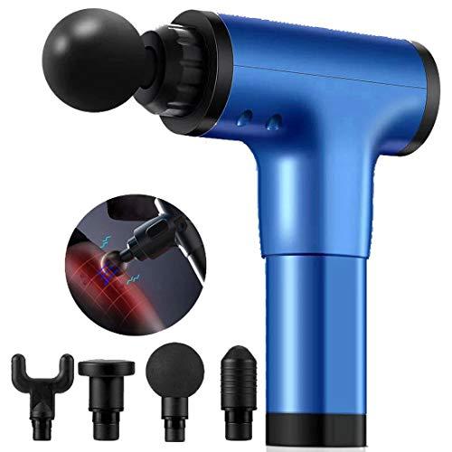 Preisvergleich Produktbild DDSGG Percussion Massage Pistole Muscle Massager Massagegerät mit 6 Geschwindigkeiten 4 Massageköpfen LED-Anzeige für Nacken,  Rücken,  Schulter, Blau