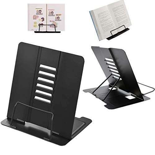 Metal Book Stand Portable Book Stands Reading Stand,Anti-Slip Adjustable Foldable Tablet Document Cookbook Display Stand ,Suitable for Office Home Dormitory