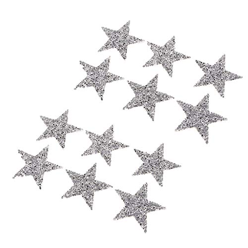 freneci 12pcs Crystal Star Patches Iron Sew On Clothes Bag Rhinestone Badge Patches