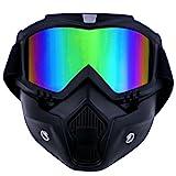 TedGem Mortorcycle Maske abnehmbaren Schutzbrille und Mund Filter für Open Face Helm Motocross Ski Snowboard, Motocross Off-Road Goggles