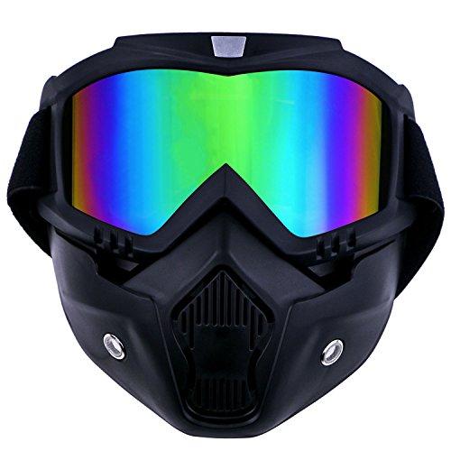 """TedGem - Maschera con occhiali protettivi rimovibili e filtro per la bocca, per casco """"Open Face"""" da motocross, sci e snowboard"""
