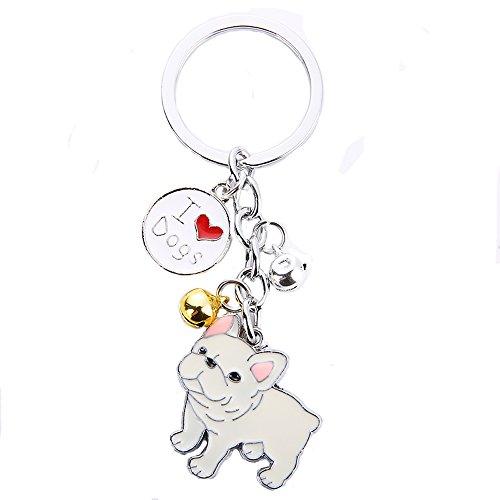 Dog Memorial Keychain,Pet Jewelry,Dog Pendant Key-Ring,Puppy ID Tags Metal Keyring Birthday (White French Bulldog)