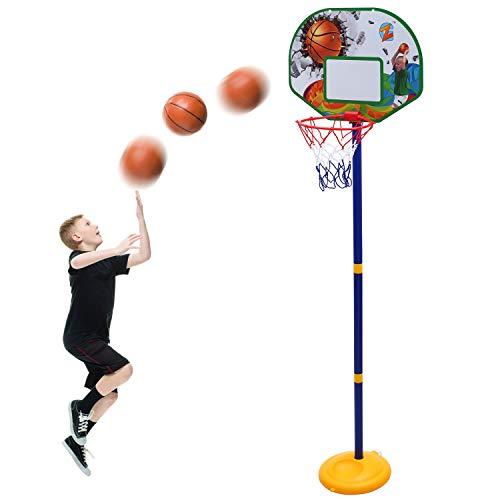 LINGSFIRE Set di Canestro Basket Set di Canestro da Basket Regolabile, 26.7-58.6 Pollici Canestro Bambini Altezza Regolabile Posteriore con Cerchio per Bambini Giochi da Esterno