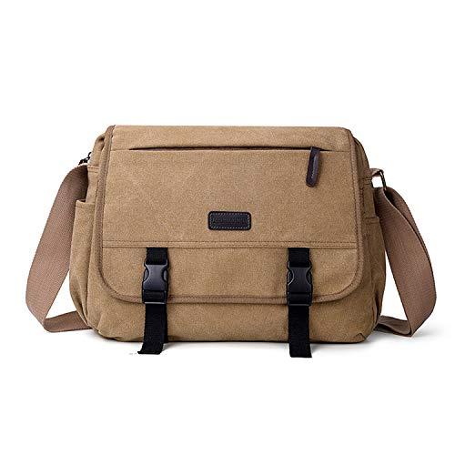 FANDARE Unisex Umhängetasche Schultertasche 14 Zoll Laptoptasche für Arbeit Herren Damen Messenger Bag Multifunktions Crossbody Bag Reise Arbeit Segeltuch Tasche Khaki