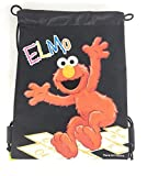 Sesame Street Elmo 10' X 14' Drawstring Backpack Heavy Duty Nylon Tote Bag Color (Baby Blue, Pink) (Black)
