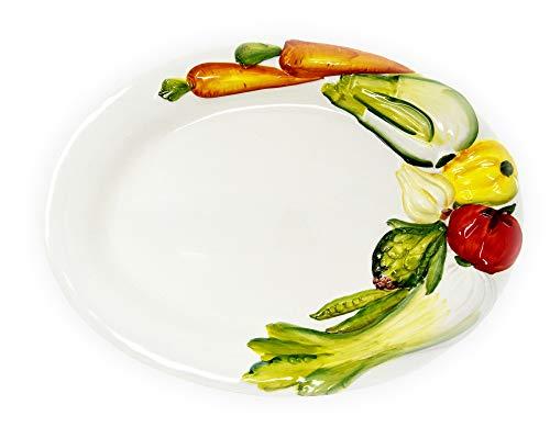 Lashuma Italienischer Keramikteller Gemüse, Ovaler Dekoteller Handbemalt, große Servierplatte 45 x 33 cm