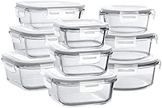Glass Storage Containers with Lids, 9 Sets Glass Meal Prep Containers Airtight, Glass Food Storage Containers, Glass Containers for Food Storage with Lids - BPA-Free & FDA Approved & Leak Proof