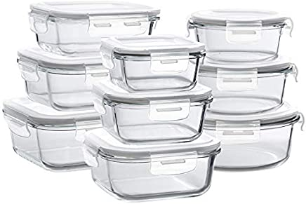 Bayco Glass Storage Containers with Lids, 9 Sets Glass Meal Prep Containers Airtight, Glass Food Storage Containers, Glass Containers for Food Storage with Lids - BPA-Free & FDA Approved & Leak Proof
