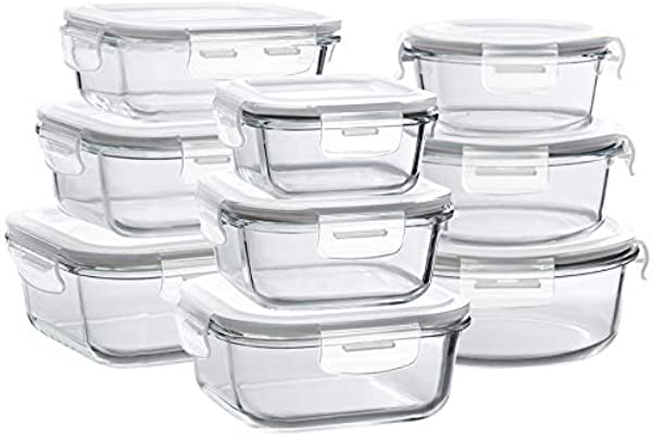 Bayco Glass Storage Containers With Lids 9 Sets Glass Meal Prep Containers Airtight Glass Food Storage Containers Glass Containers For Food Storage With Lids BPA Free FDA Approved Leak Proof