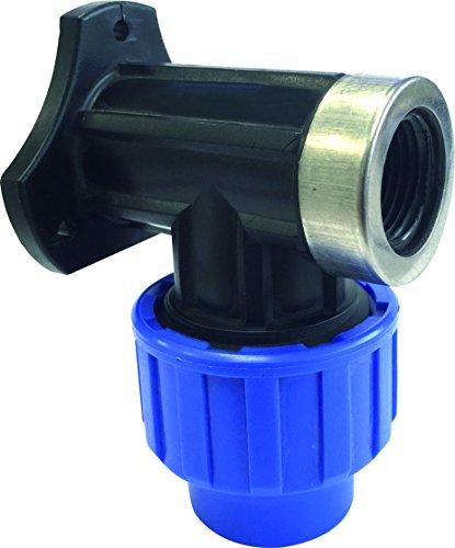 """S&M 725869 Codo Grifo con Refuerzo Acero Inoxidable para tubería 20 mm-1/2"""", Negro y Azul, 20 mm"""