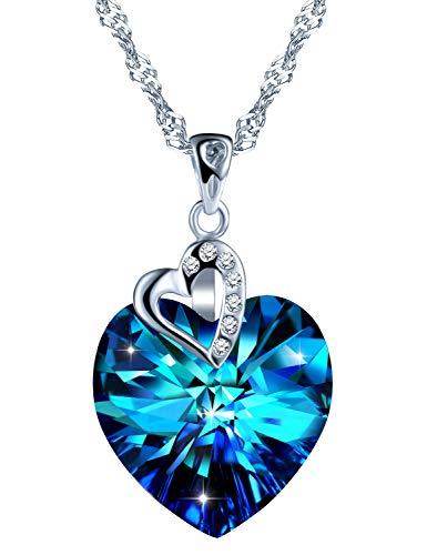 Infinito U- Collares Mujer de Plata de Ley 925 Colgante Corazón del Cristal Azul Swarovski, Idea Regalo Navidad para Mujeres Chicas