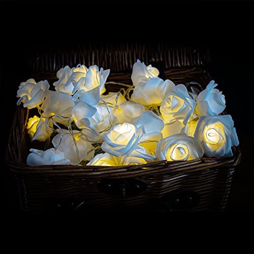 Jaoyeh - Luces LED de hadas de rosas blancas – Cadena de luces con función de batería, luces de hadas cálidas