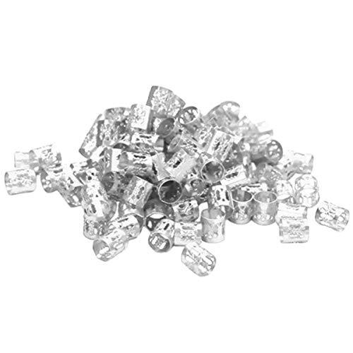 100pcs Hair Braid Rings Aluminum, Dread Locks Metal Hair Cuffs Hair Braiding Beads (Silver)