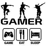 Wandaufkleber, Gamer Boy mit Controller, Eat Sleep Game